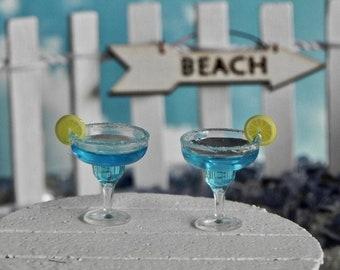 Miniature Cocktail Margarita Blue drink, miniature beach fairy garden miniatures, picket fence, miniature beach arrow sign, dollhouse supply