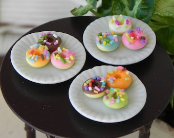 c10f01bbe Miniature Donuts Plate, ONE, fairy garden accessories, sprinkle donuts,  fairy picnic food, garden miniatures accessory supply, tiny food