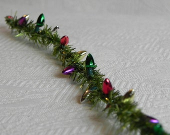 miniature christmas garland 12 metallic pine bright green wired roping with metallic bulbs for dollhouse fairy garden or craft project