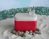 Miniature Cooler, Beach Garden accessories, ice chest, miniature lemonade dollhouse minis , terrarium wedding cake topper supply
