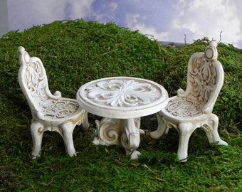 Miniature Fairy Garden Bistro Table 2 Chairs, 3 Piece Set, Victorian Style  Chairs