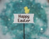 Fairy Garden Easter Sign, miniature Happy Easter sign, fairy garden accessory, garden miniatures, miniature chick or miniature easter egg