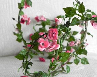 Rose Garland Accessories Miniature Roses Wired Fairy Garden Supplies  Wedding Supply Artificial Flowers Pink