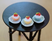 ONE Miniature cupcake on plate fairy food fairy garden accessories assorted cupcakes dollhouse kitchen miniatures
