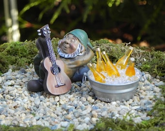miniature gnome guitar tub of beer faux ice miniature garden sleeping gnome gnome garden accessories fairy garden accessory - Gnome Garden