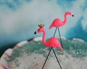 Miniature Flamingo Fairy Garden - beach scene - cake topper - miniature garden - terrarium - fairy accessories - flamingo with crown