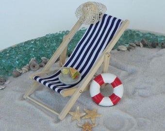 Miniature Deck Chair blue, miniature beach garden accessories life ring, miniature fishing rod, miniature starfish, miniature lemonade glass