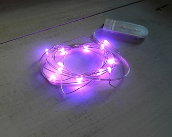 Fairy Lights 12 LED purple miniature - 4.5 feet long 12 lights battery operated for terrarium - dollhouse - accessories - supplies - supply