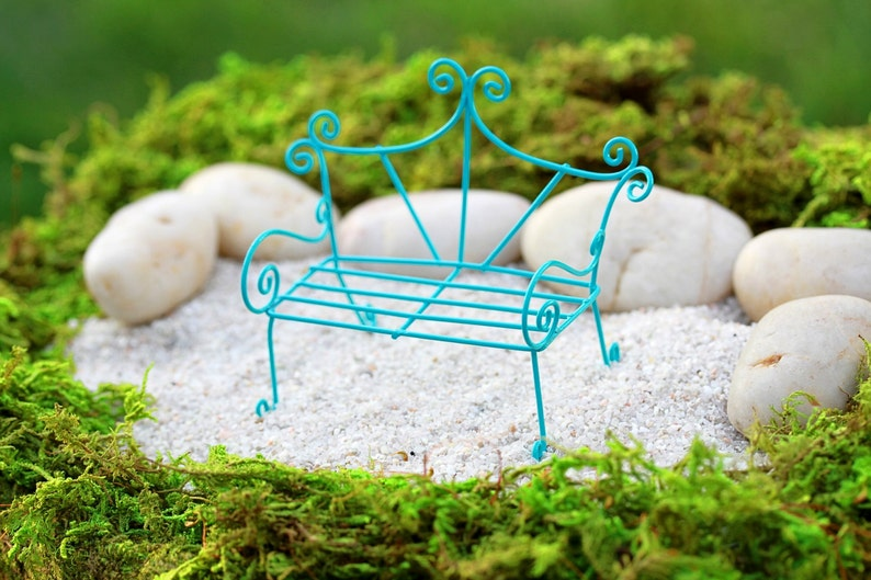 Sensational Fairy Garden Bench Miniature Furniture Accessories Bright Robins Egg Blue Terrarium Whimsical Style Gmtry Best Dining Table And Chair Ideas Images Gmtryco