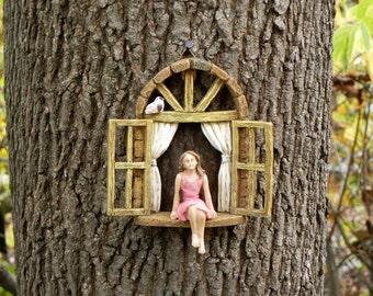 Miniature garden GIRL no wings - mini garden accessory - Girl sitting in miniature window, accessory for fairy garden