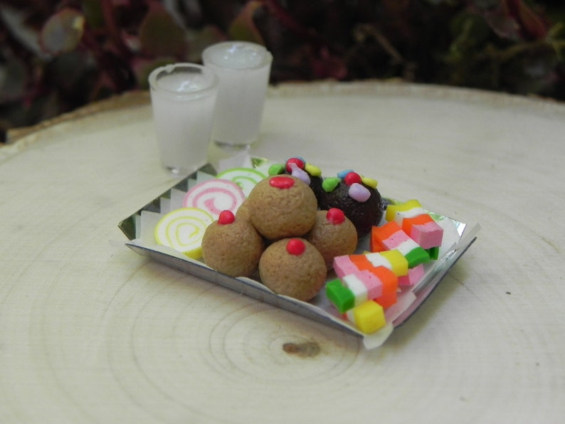 Miniature Candy Tray, fairy food, fairy garden accessories for fairy  picnic, dollhouse kitchen miniatures, tiny glasses of milk, fairy food
