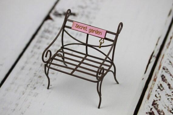 Accessoire miniature fée jardin banc mobilier Jardin Secret | Etsy