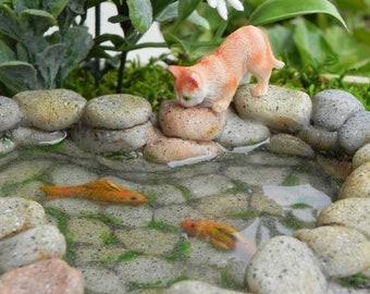 Fairy Garden Koi Pond miniature with artificial water, cat kitty, fairy garden accessories miniature fish, stone look, mini garden supply