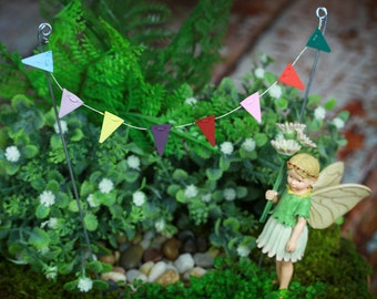Fairy Garden Accessories miniature bunting pennant party flags