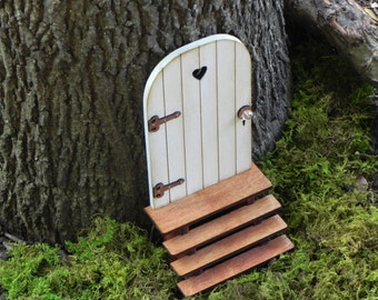 Fairy Door With Key, Fairy Garden Miniature Accessories, Hand Crafted Wood  Cloud White With
