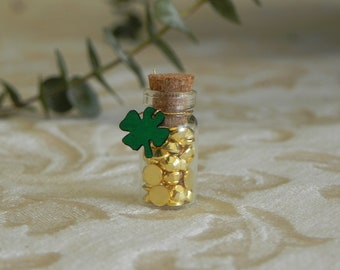 St. Patrick's Day miniature accessories, faux tiny gold coins nuggets, lucky four leaf clover, fairy garden miniatures