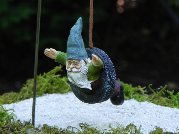 Gnome Tire Swing Fairy Garden Accessory Miniature Garden | Etsy