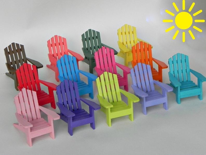 Miniature Adirondack Chair ONE, fairy garden accessories, coastal beach  wedding cake topper, painted assorted colors, wooden craft supplies