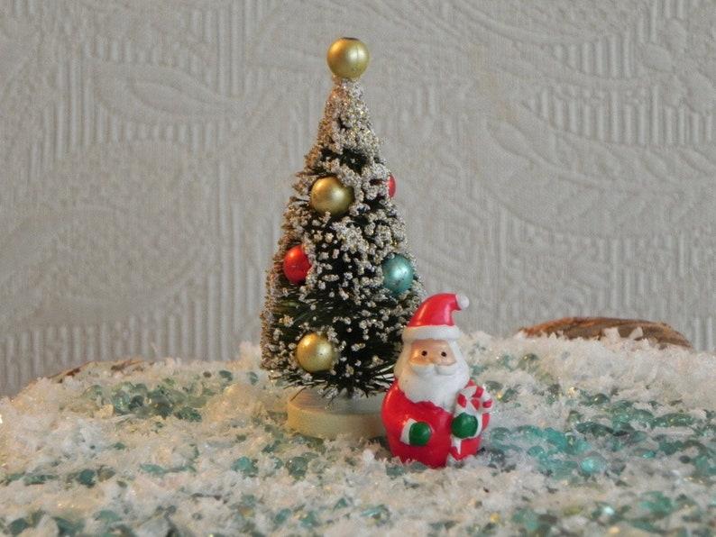 Christmas Miniatures.Christmas Miniatures Santa Tree Bottle Brush Vintage Style Tiny Santa Accessories For Miniature Fairy Garden