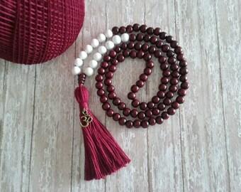 PEACE,HARMONY, LUCK - Jade 108 Mala Bead, Yoga Tassel Necklace, Mala Necklace, Tassel Bead Necklace,  Bohemian Necklace, Meditation Bead