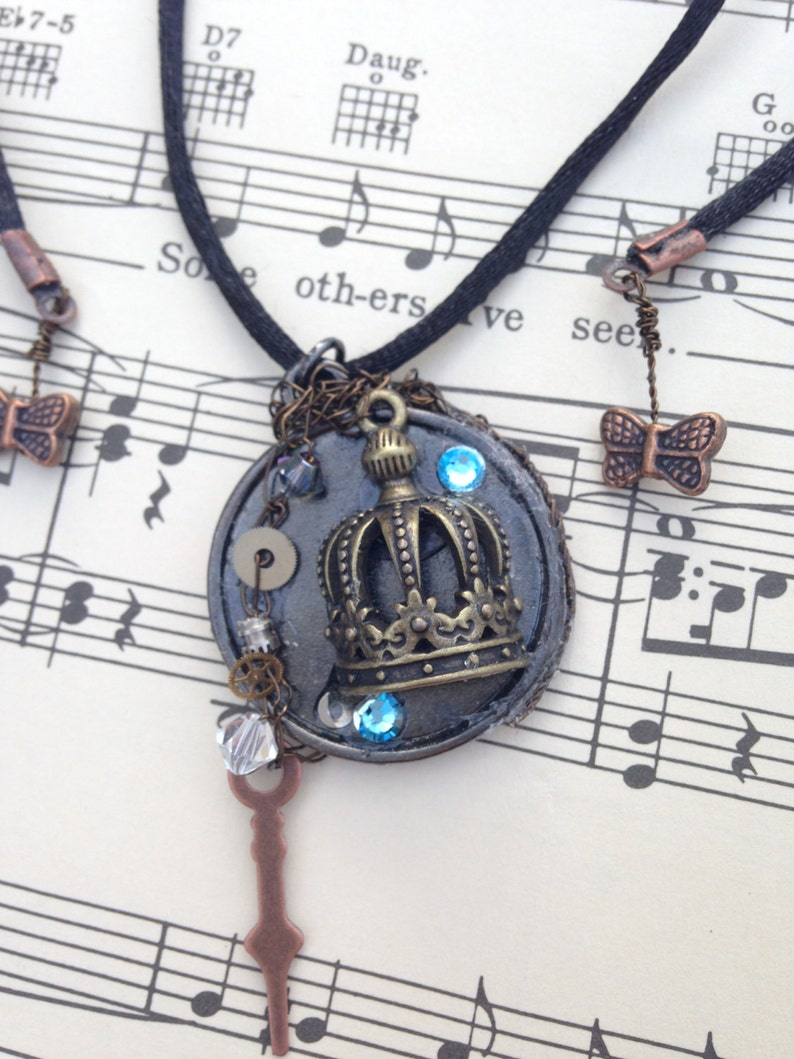 Steampunk Necklace Crown Necklace Queen Punk Victorian image 0
