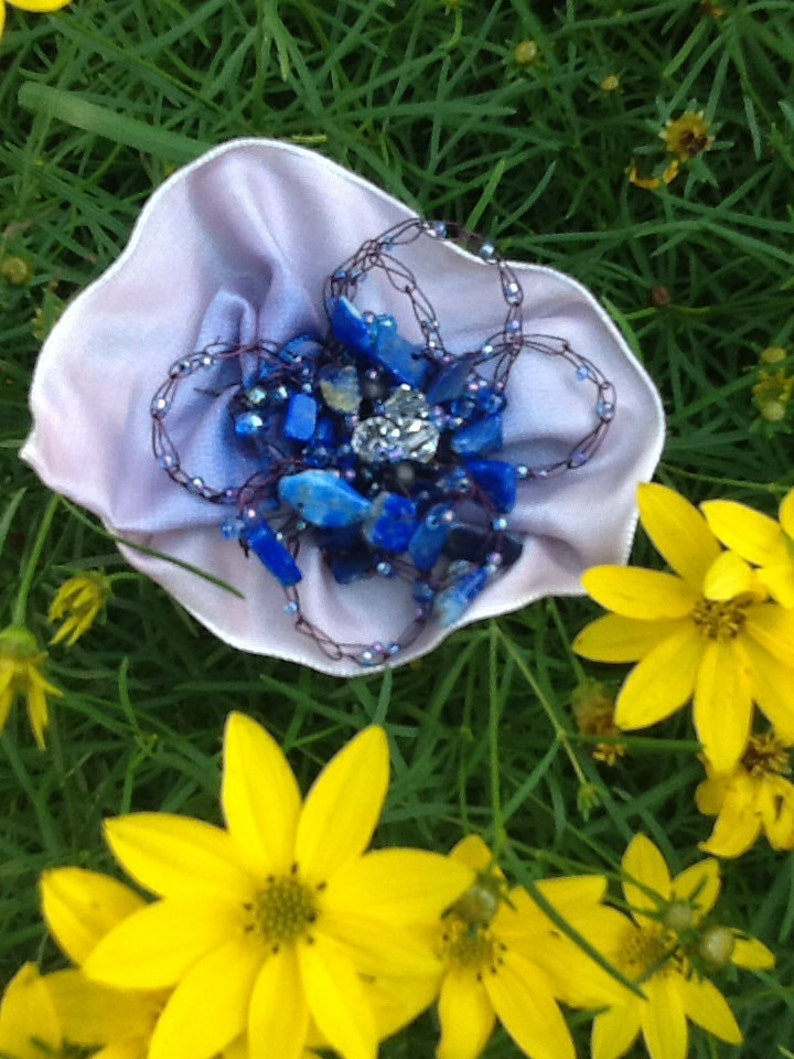 Gemstone Flower Pin Mothers Day Gift Wire Crochet Flower image 0
