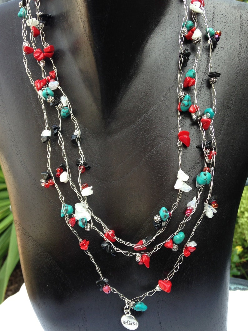 Inspirational Necklace Wire Crochet Turquoise Black Agate image 0