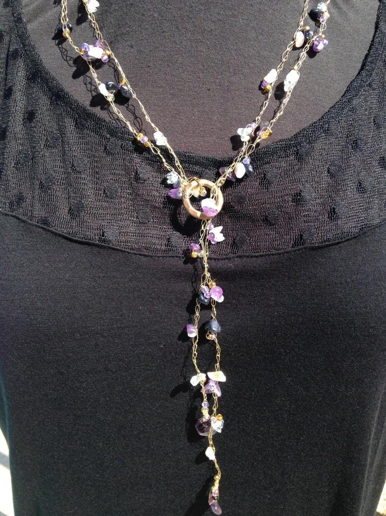 Lariat Necklace Set Wire Crochet Necklace Set Amethyst Rose image 0