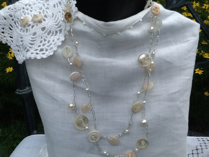 Vintage Button Necklace Wire Crochet  Antique Buttons Pearls image 0