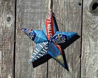 Upcycled Samuel Sam Adams Boston Lager Beer Can Star Ornament
