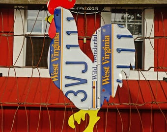 Upcycled West Virginia License Plate Rooster/Chicken Wall Art/Coop Decor