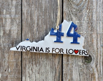 """Upcycled Virginia License Plate Virginia is for Lovers """"State of Virginia"""" Ornament"""