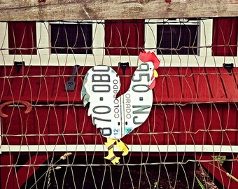 Upcycled Colorado License Plate Chicken Rooster Wall Art/Coop Decor