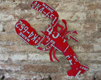 Upcycled Red Maine License Plate Lobster