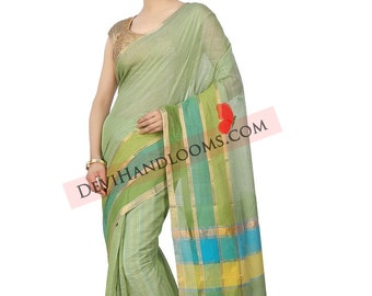 Pastel Green Mangalagiri Handloom Cotton saree with blouse