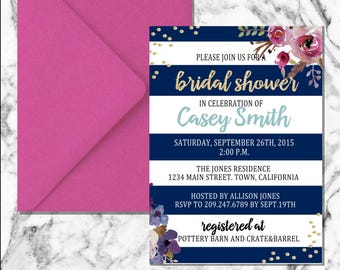 Floral Stripe Bridal Shower Invitation (digital file)