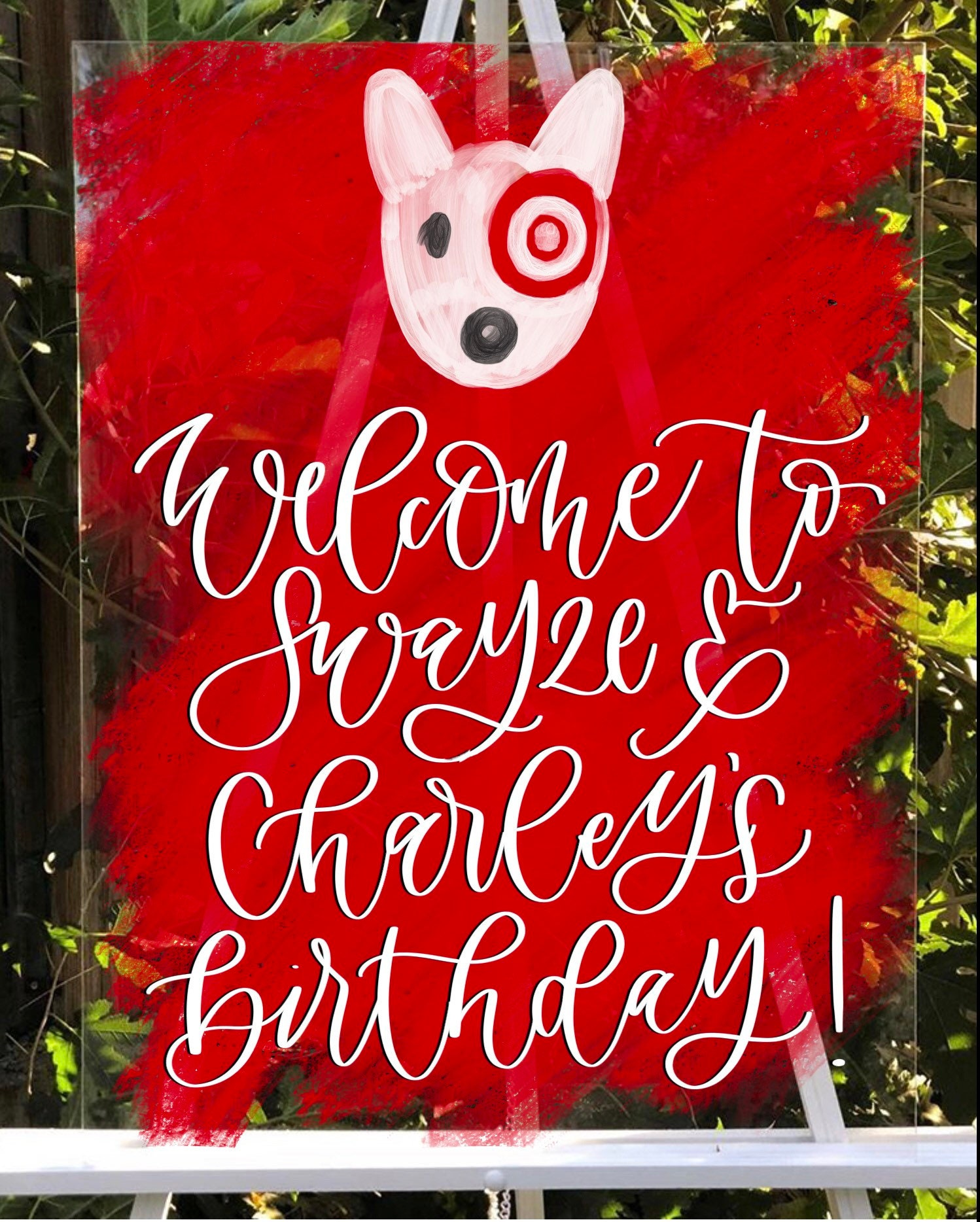 Target Party L Welcome Sign Hand Lettered Acrylic