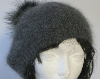 eb2048cb SLOUCHY CASHMERE BERET oversize Tam charcoal dark grey cashmere mohair silk  with fur pompom