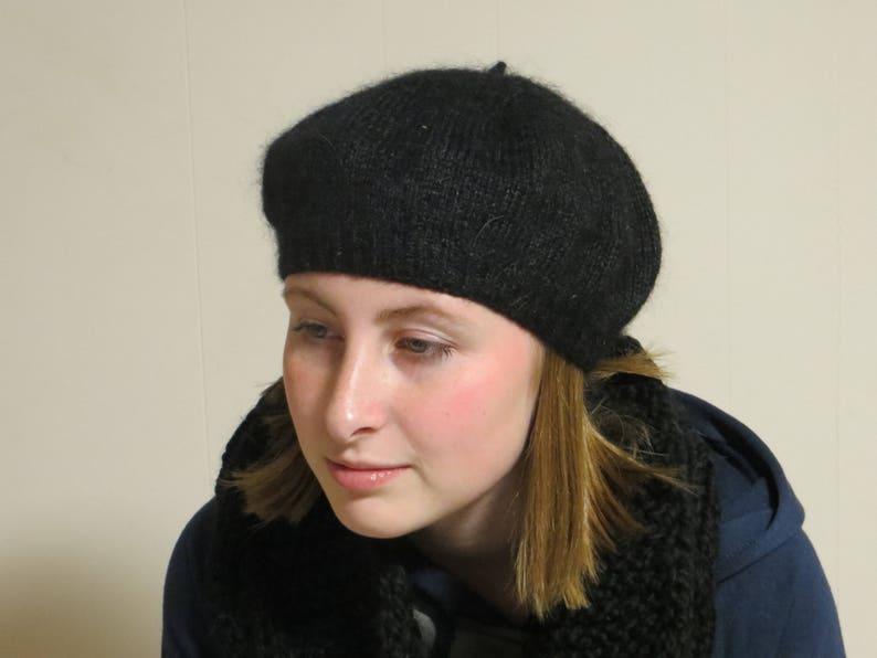 e97c5af1 BLACK CASHMERE BERET Tam soft black cashmere mohair silk | Etsy