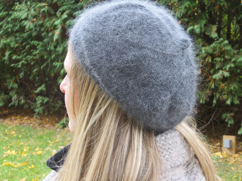 0d197facee717 SLOUCHY CASHMERE BERET oversize Tam charcoal dark grey