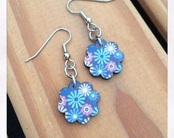 Laser Cut Wooden Drop Flower Earrings
