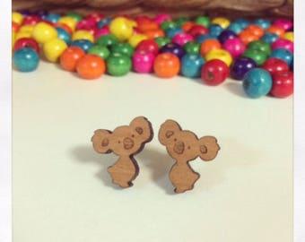 Laser Cut Wooden Koala Earrings