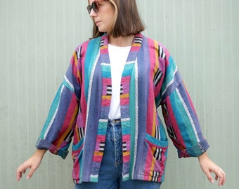 Women's Colourful Woven Stripey Aztec Jacket 42 / UK16