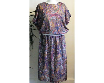 Vintage 1980s Colourful Paisley Psychedelic Co-Ord Top & Skirt M