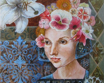 Fine Art Giclee Print on stretched canvas, Small painting, Reproduction, woman with flower,colorful, botanical,  wall art