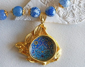 Blue Agate Necklace, Gold Pendant, Persian Mosaic, Statement Necklace, Special Event Necklace, Blue and Gold Necklace