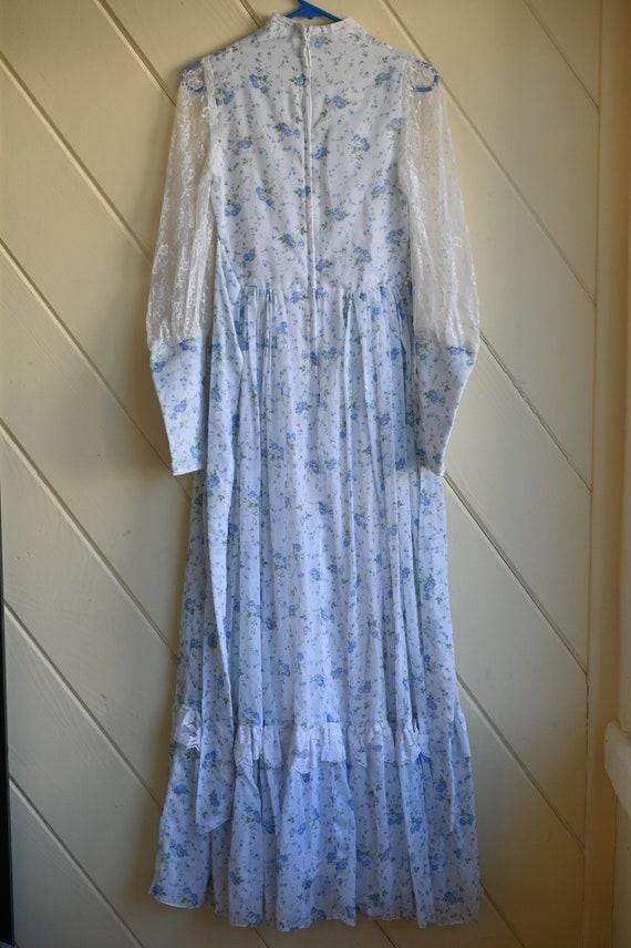 Vintage Gunne Sax blue prairie dress size 9 cotta… - image 3