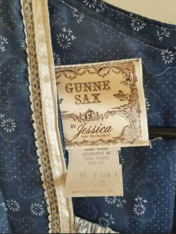 Vintage Gunne Sax blue prairie dress size 5 cotta… - image 4