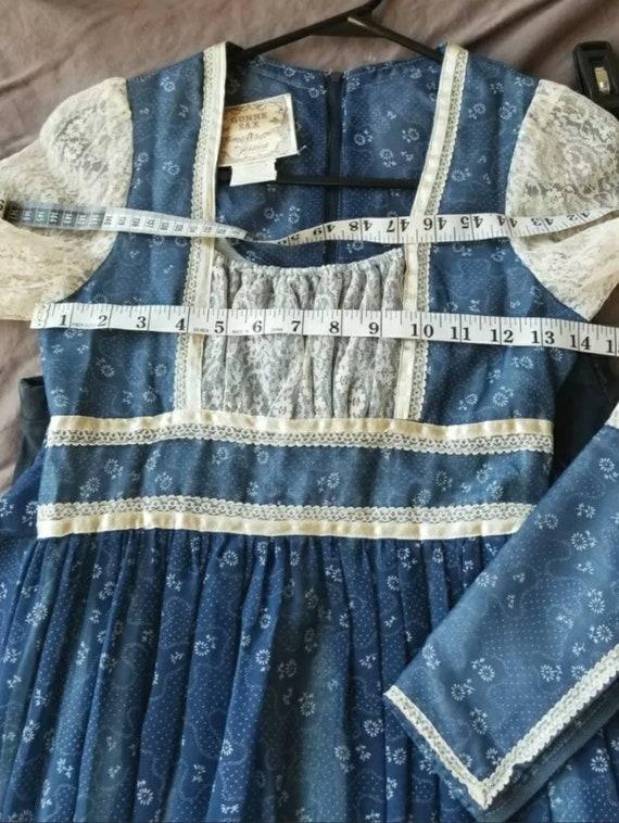 Vintage Gunne Sax blue prairie dress size 5 cotta… - image 6