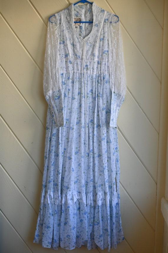 Vintage Gunne Sax blue prairie dress size 9 cotta… - image 5